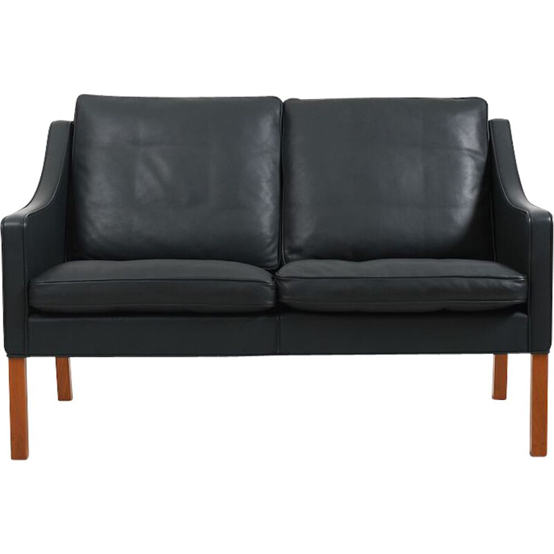 Mid century leather and teak sofa model 2208 by Børge Mogensen for Fredericia Stolefabrik, 1970s