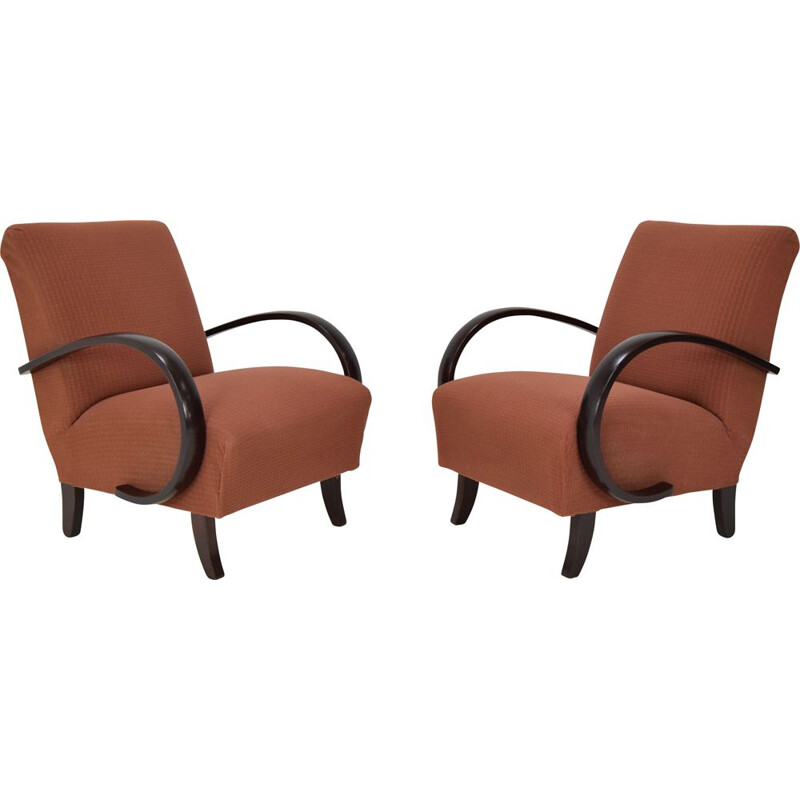 Pair of mid-century fabric and wood armchairs by Jindrich Halabala, Czechoslovakia 1950s