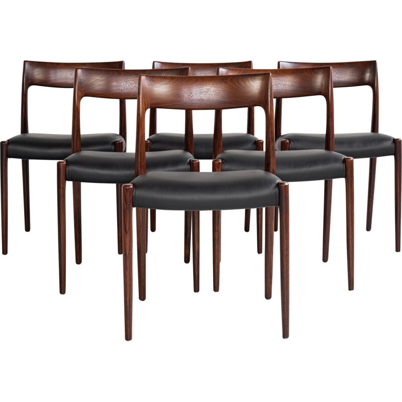 Set of 6 vintage chairs in rosewood and leather by Niels Otto Møller for J.L. Møllers Møbelfabrik, Denmark 1960s