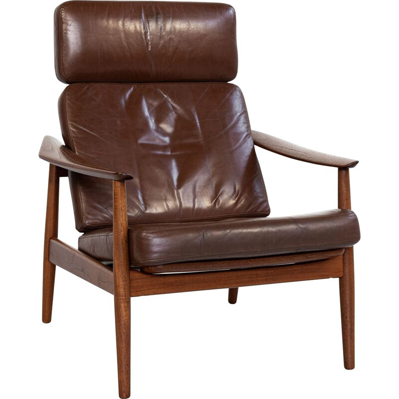 Mid century lounge chair in teak and leather by Arne Vodder for France & Søn, Denmark 1960s