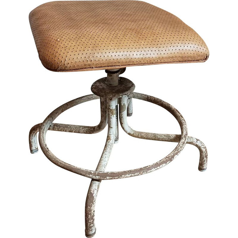 Industrial leatherette stool by Henri Liber for Flambo, 1930
