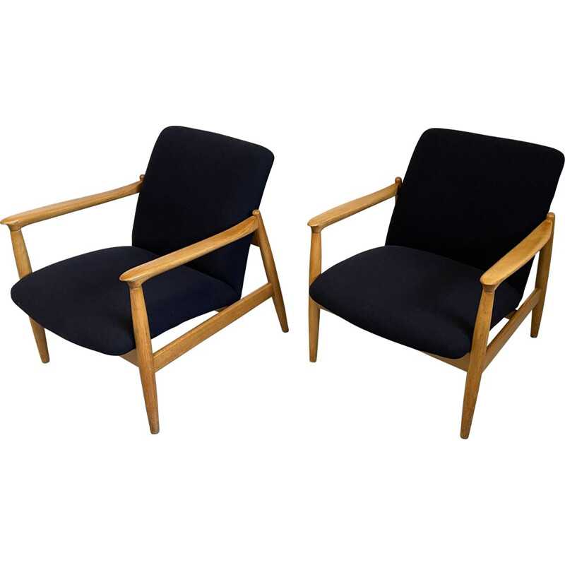 Pair of vintage wool fabric and wood armchairs by Edmund Homa for GFM