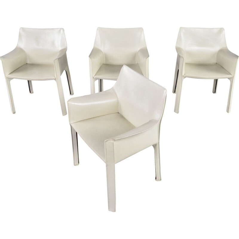 Set of 4 vintage Cab 413 ivory leather dining chairs by Mario Bellini for Cassina, 1977