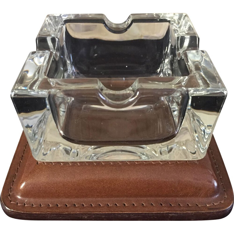 Art deco modernist vintage ashtray in cut glass and quilted leather