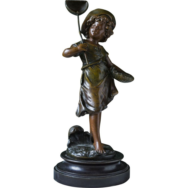 Vintage bronze boy with butterfly sculpture by Auguste Moreau, France 1890s