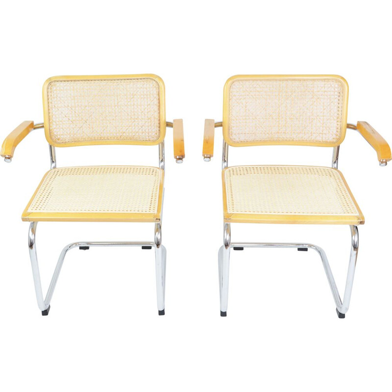 Pair of vintage wooden and rattan armchairs with armrests, 1970s