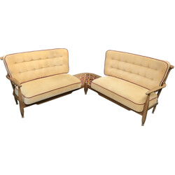 Double sofa in oak wood and beige fabric, GUILLERME & CHAMBRON - 1960s