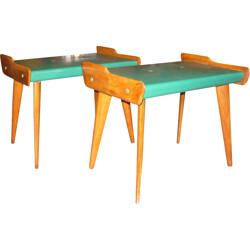 Pair of Italian stools in maple and green leatherette - 1950s