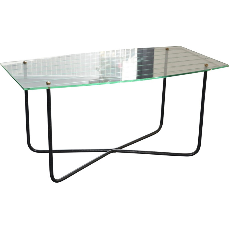 Coffee table in glass and metal, Jacques HITIER - 1950s