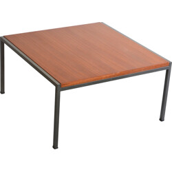 French EFA coffee table in mahogany and metal, Georges FRYDMAN - 1960s