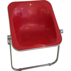 "Castelli ""Plona"" chair in red plastic, Giancarlo PIRETI - 1960s"