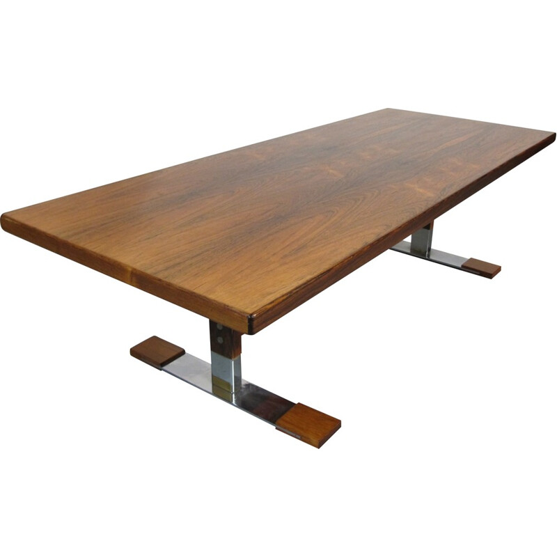 Danish Sibast rectangular coffee table in rosewood and chromed steel - 1960s