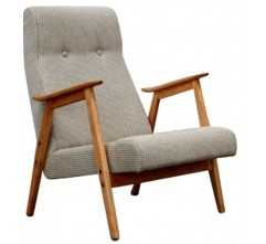 Armchair in grey linen and wood - 1960s