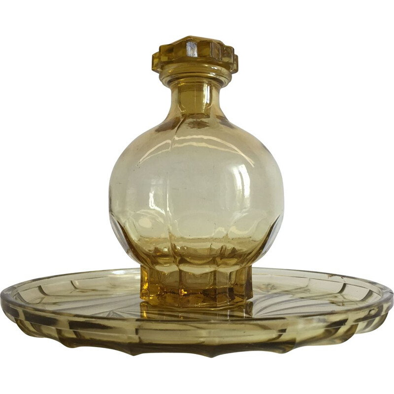 Vintage Art Deco glass tray and carafe set, France