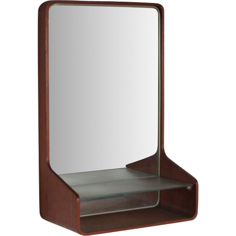 """Mid century """"Euroika"""" teak mirror by Friso Kramer for Auping, Netherlands 1950s"""