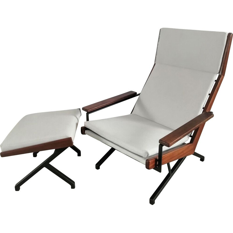 """Vintage """"Lotus"""" lounge chair with ottoman by Rob Parry for Gelderland, 1950s"""