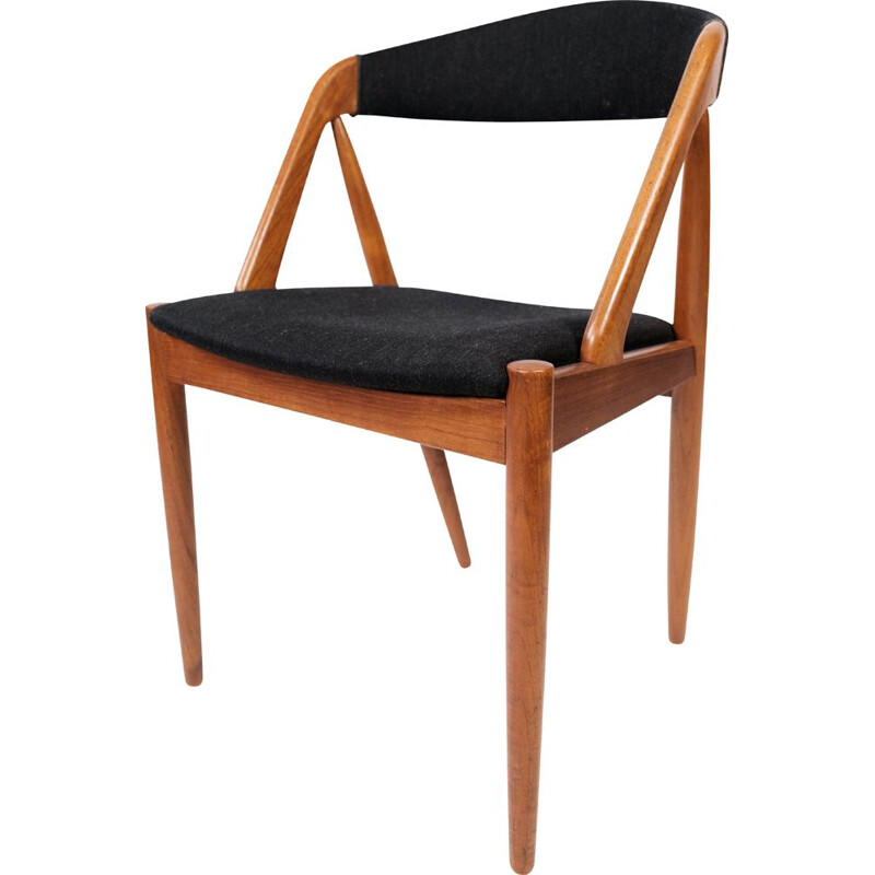 Vintage teak and black fabric dining chair model 31 by Kai Kristiansen for Schou Andersen, 1960s
