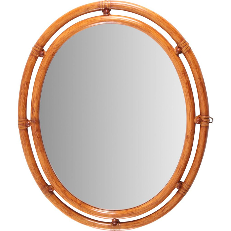 Vintage oval bamboo mirror, 1960s