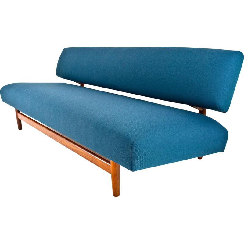 Dutch sofa in teak and turquoise fabric, Rob PARRY - 1960s