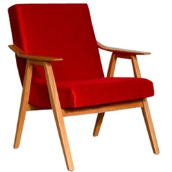 Armchair in red fabric and wood - 1960s