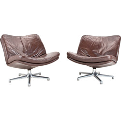 Pair of Artifort armchairs in brown leather, Geoffrey HARCOURT - 1960s