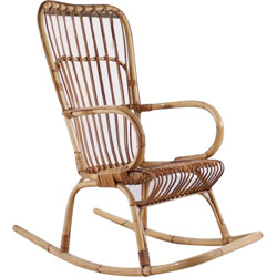 Vintage bamboo rocking chair - 1950s