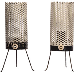 Pair of table lamp in perforated metal - 1950s