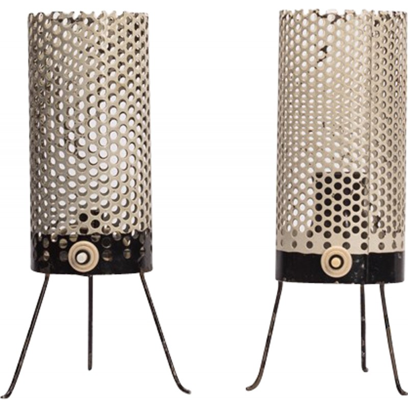 table lamp with a perforated mesh