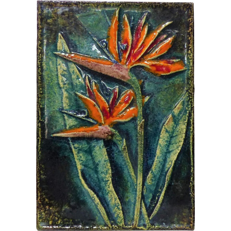 Vintage enamelled wall plaque with exotic flower by Karlsruhe