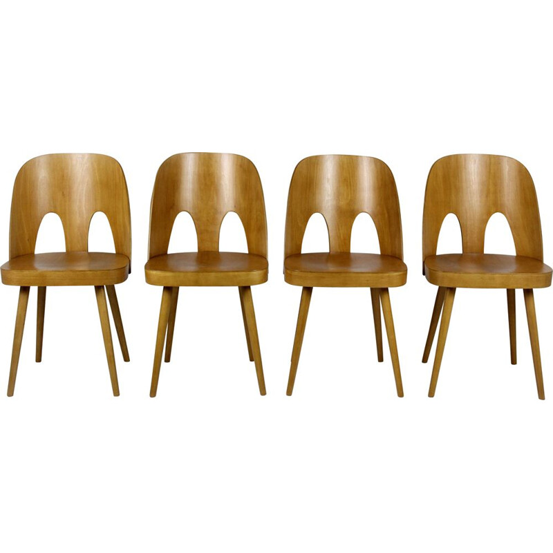 Set of 4 vintage wooden chairs by Oswald Haerdtl for TON, Czechoslovakia 1960s