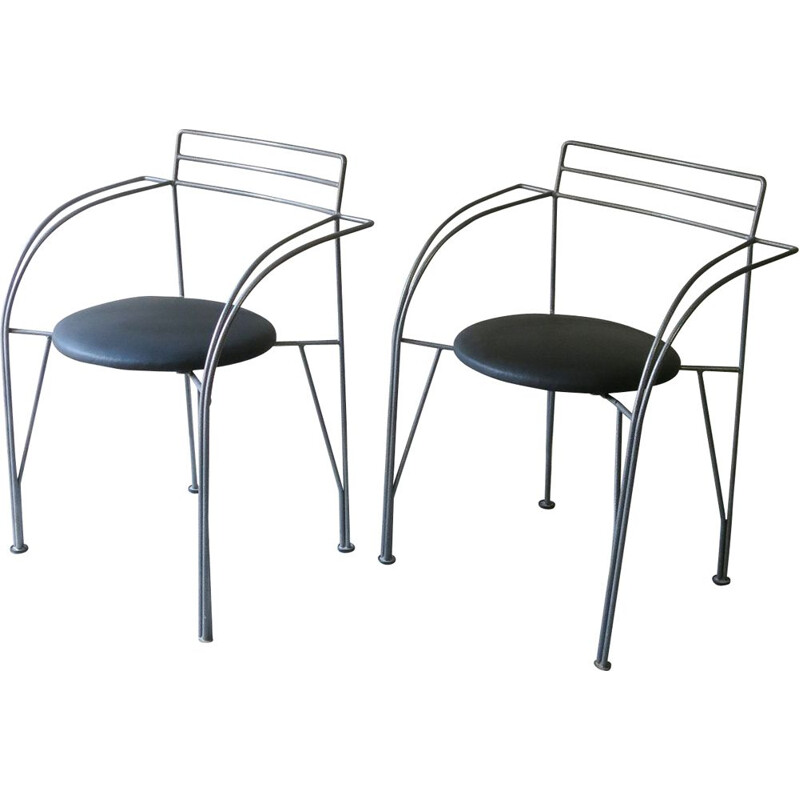 Pair of vintage armchairs in black leatherette and metal by Pascal Mourgue for Fermob, 1985