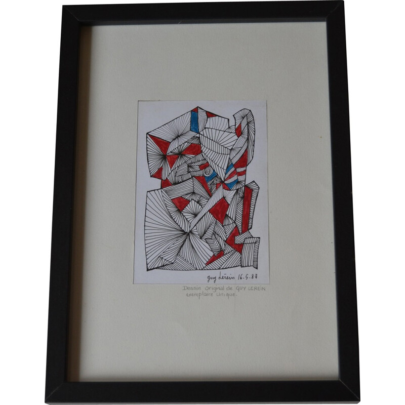 Abstract drawing on paper, Guy Claude LEREIN - 1980s