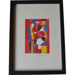 Abstract composition on paper, Guy Claude LEREIN - 1980s