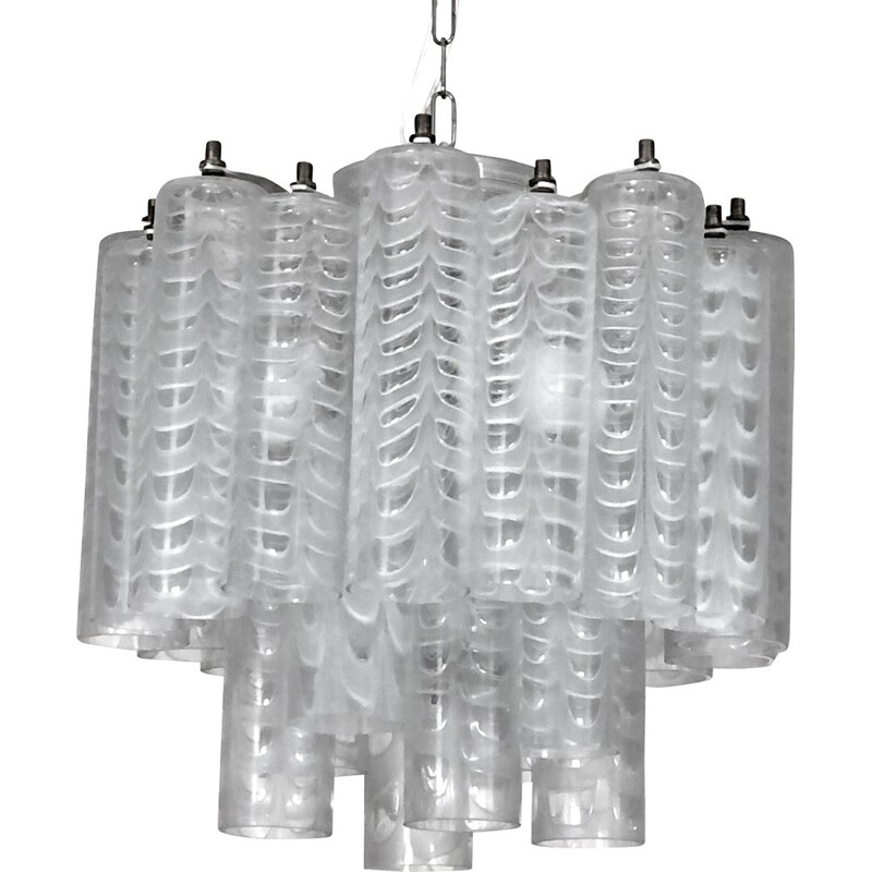 """Vintage """"Graffito"""" Murano glass chandelier by Ercole Barovier, Italy 1960s"""