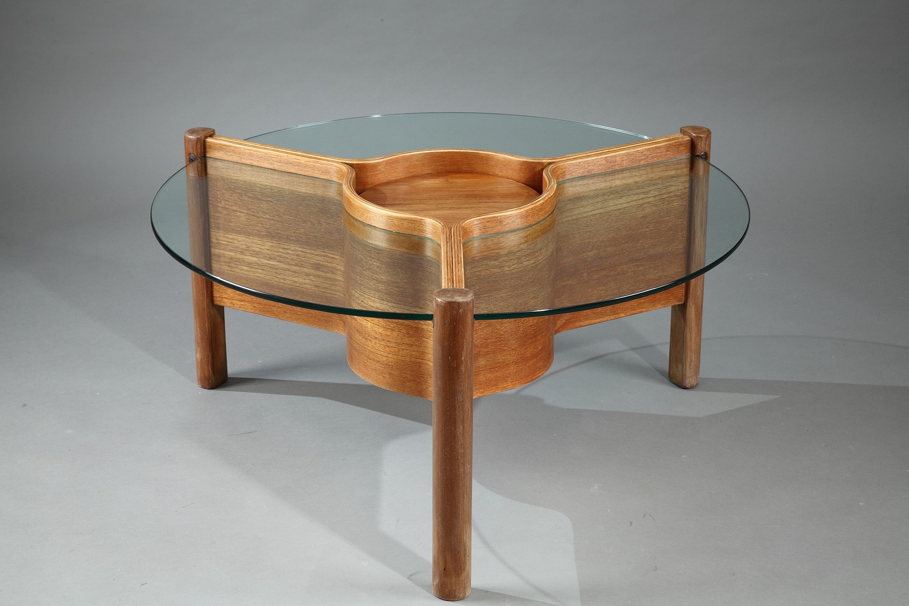 Nathan coffee table in thermoformed wood and glass 1960s