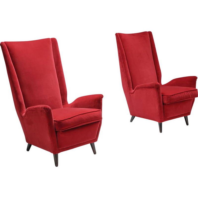 Pair of Italian vintage red armchairs by Gio Ponti, 1950s
