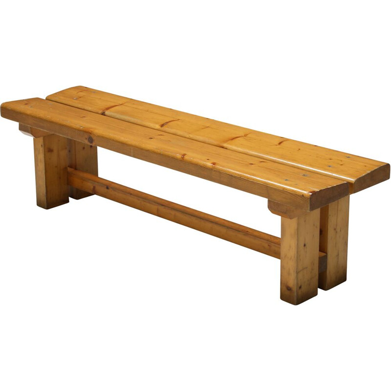 Pine vintage French bench by Charlotte Perriand for Les Arc, 1970s