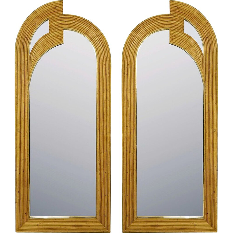 Pair of vintage contemporary bamboo and brass Italian mirrors