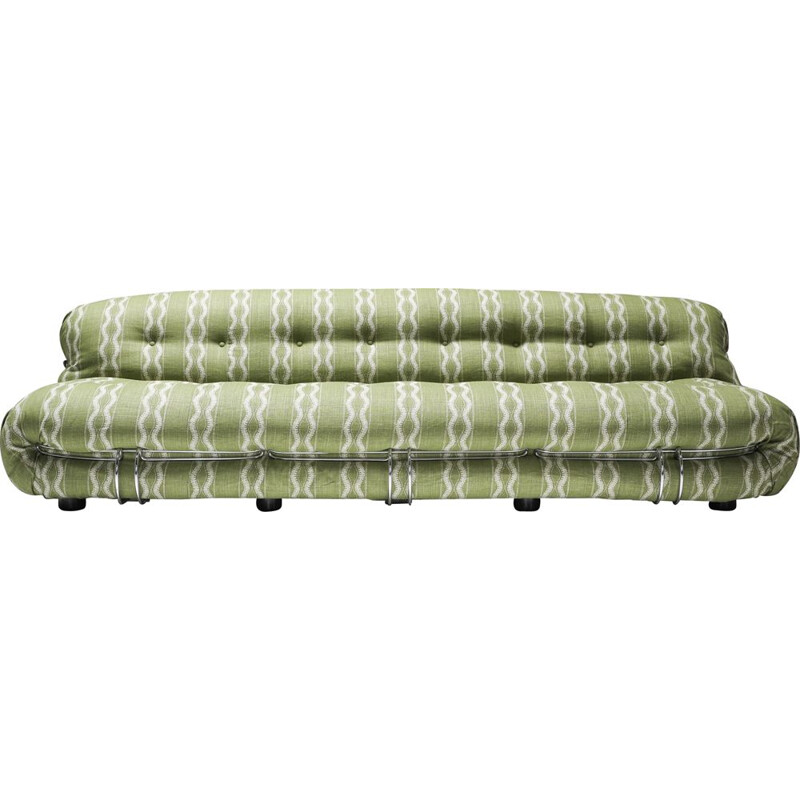Vintage four seater sofa in fabric bouclé by Afra and Tobia Scarpa for Cassina Soriana, 1970s