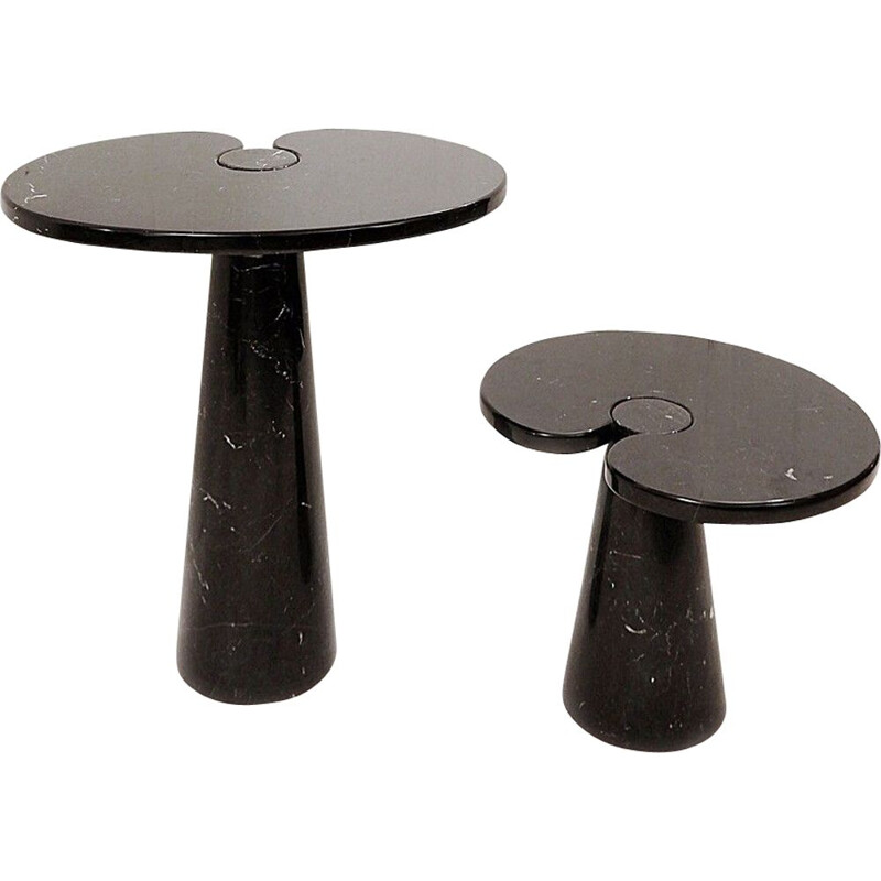"""Pair of vintage black marble coffee tables model """"Eros"""" by Angelo Mangiarotti"""