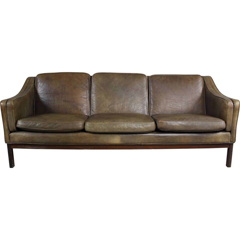 Mid century brown leather and rosewood sofa by Vatne Mobler, Norway 1970s