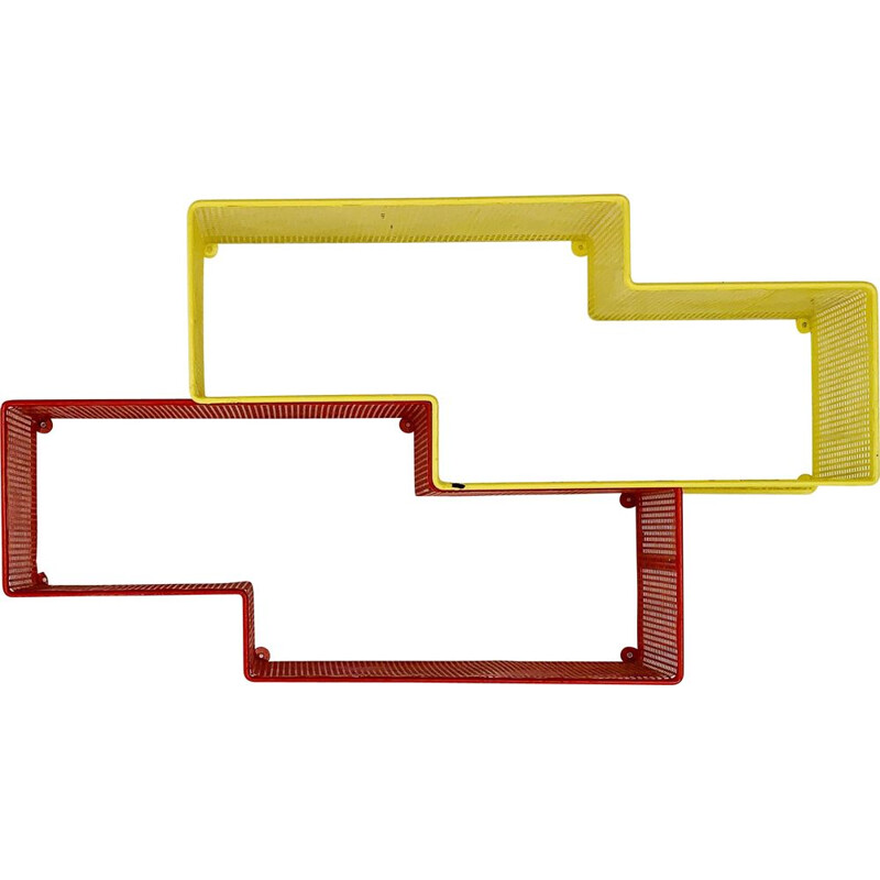 Pair of vintage shelves in yellow and red lacquered metal by Mathieu Matégot, 1950