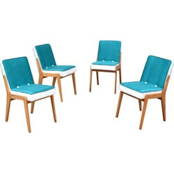 Set of four chairs in tuquoise and white fabric - 1960s