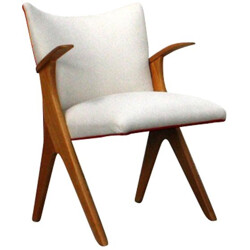 Armchair in light beige and wood - 1960s