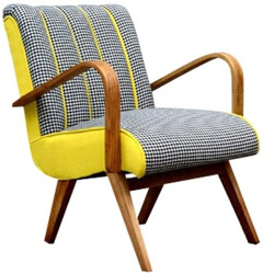 Armchair in yellow and Houndstooth fabric - 1960s