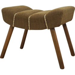 Mid-century stool in wood and brown fabric - 1950s