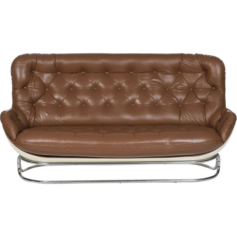 Vintage brown leather Karate sofa by Michel Cadestin for Airborne, France 1970