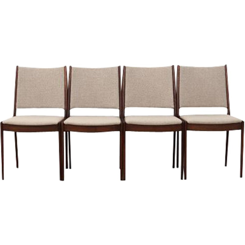 Set of 4 vintage teak and fabric chairs by Johannes Andersen, Denmark 1970s