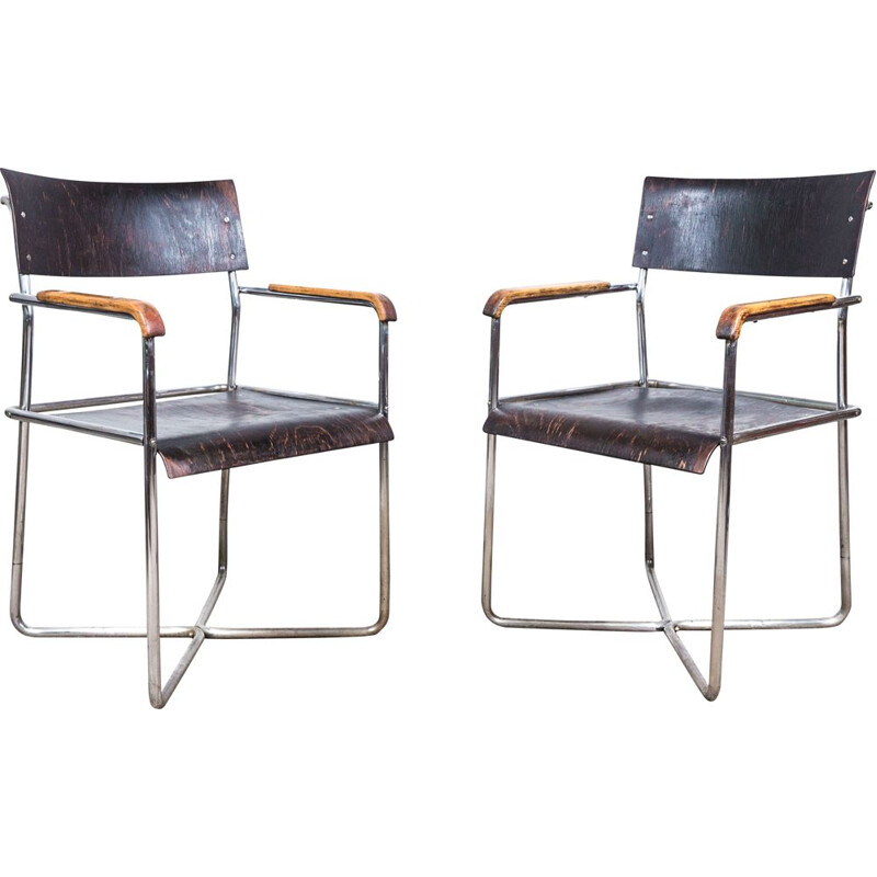 Pair of vintage Thonet B 11 armchairs by Marcel Breuer, 1935