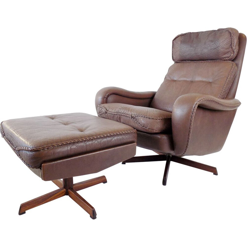 Vintage leather armchair with ottoman by Madsen & Schubell for Bovenkamp